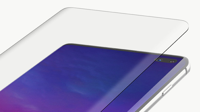 Close-up van de InvisiGlass-screenprotector