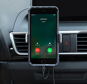 The Car Vent Mount holds your phone securely at eye level