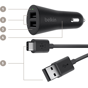 Key Features of Belkin's BOOST↑UP 2-Port Car Charger and USB-C Cable