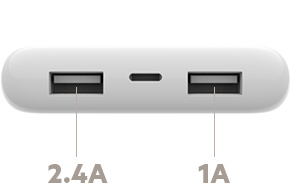 Side view of power bank ports