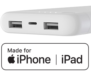 Pictogram van zijaanzicht van een powerbank met een iPhone/iPad