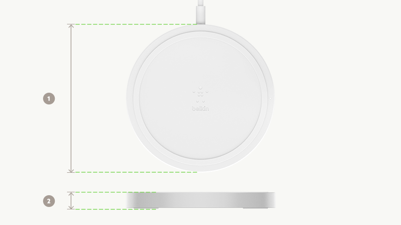 Wireless charging pad size diagram