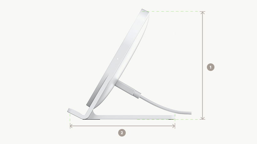 BOOST↑UP™ Wireless Charging Stand dimensions diagram