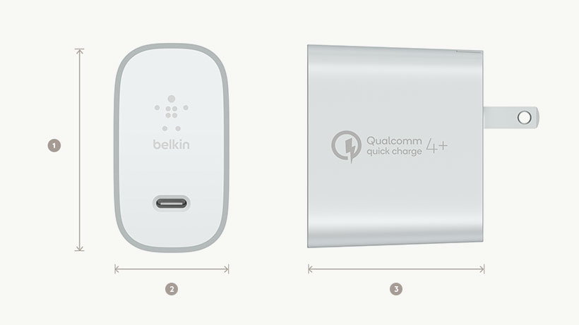 BOOST↑CHARGE™ USB-C Home Charger dimensions diagram