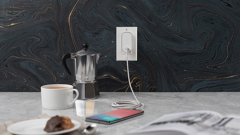 BOOST↑CHARGE™ USB-C Home Charger charging a phone on kitchen counter