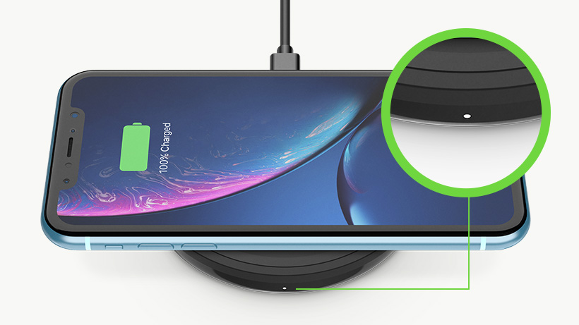 Close up of the LED light on the BOOST↑UP Wireless CHarging Pad