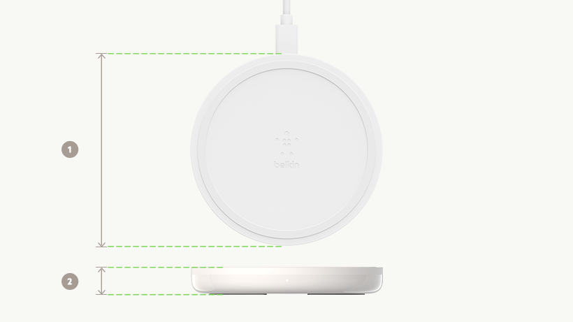 BOOST↑UP Wireless CHarging Pad dimensions diagram