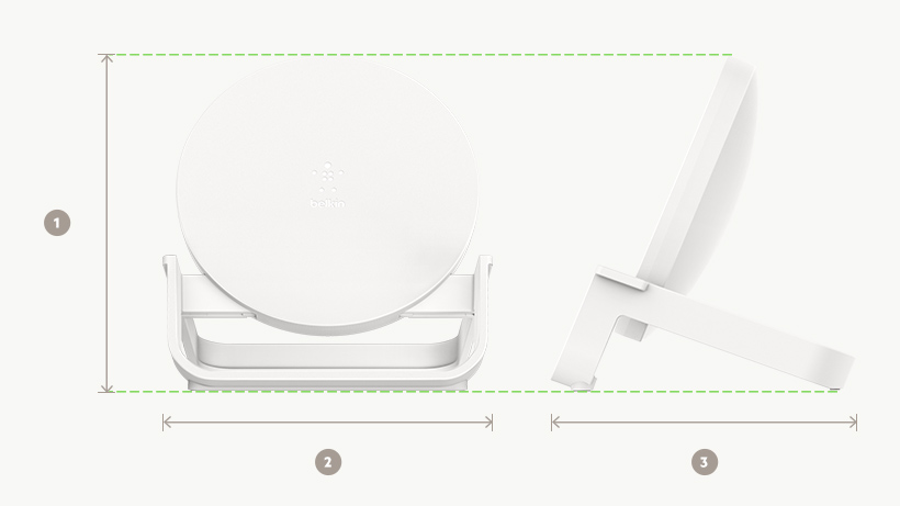 BOOST↑UP Wireless Charging Stand dimensions diagram