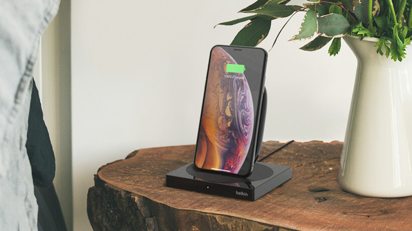 BOOST↑CHARGE Wireless Charging Stand on bedside table