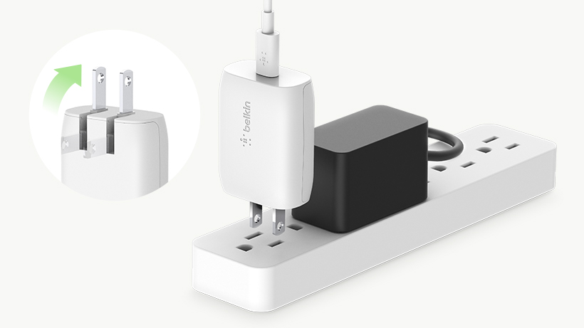 BOOST↑CHARGE USB-C Wall Charger plugged into a surge protector