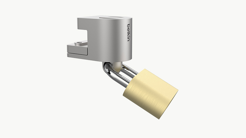 3rd party lock attached to the Belkin Security Cable Lock Adapter