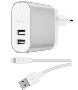 BOOST↑CHARGE™ 2-poorts lader voor thuis + Lightning-naar-USB-A-kabel