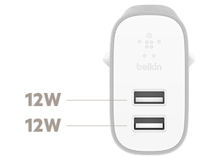Diagram Belkin BOOST↑CHARGE™ 2-poorts lader voor thuis