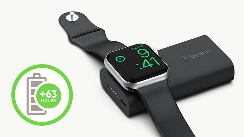 Apple Watch sitting on Power Bank with +63 Hours icon overlaid