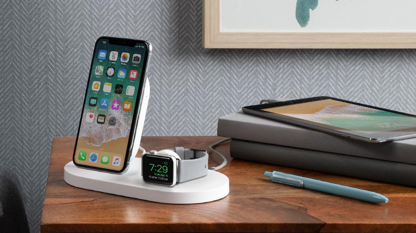 BOOST↑UP Wireless Charging Dock on bedside table