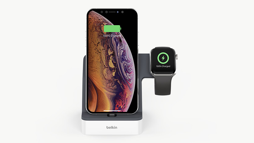 iPhone and Apple Watch on the charging dock, facing foward