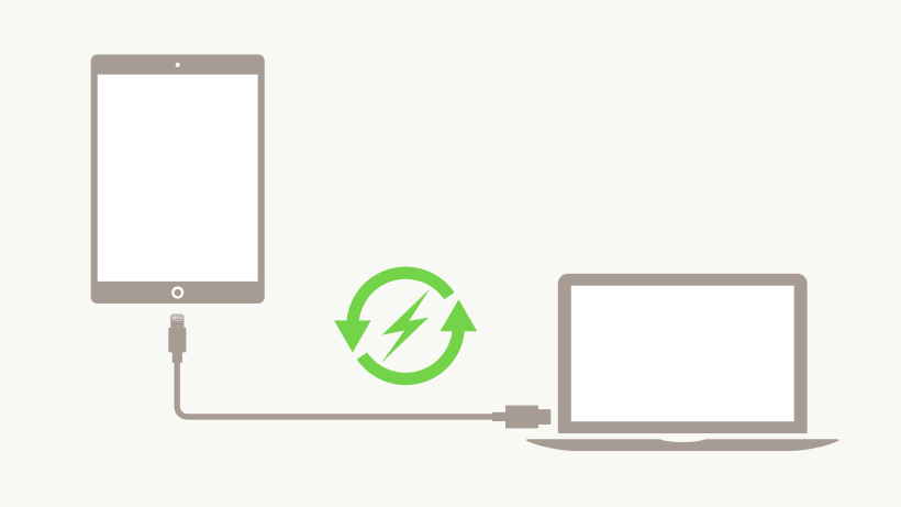 Cavo da USB-C a Lightning che connette un iPad ad un laptop