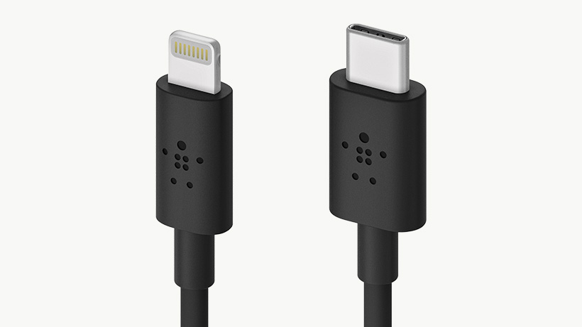 Three quarter view of the USB-C Lightning cable