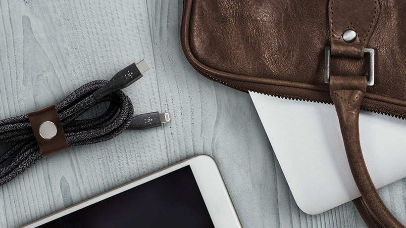 BOOST↑CHARGE™ USB-C Cable folded neatly with the strap