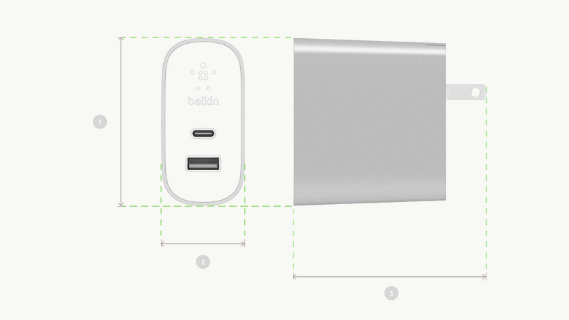 Belkin BOOST↑CHARGE Home Charger dimensions diagram