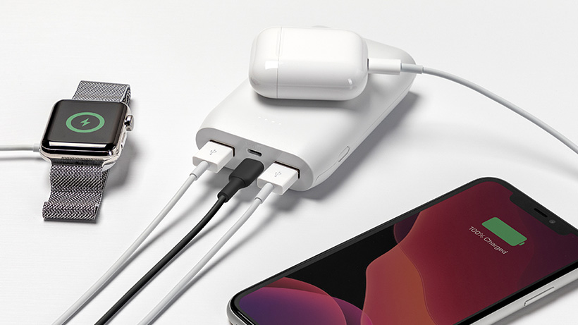 Charges up to three devices at once