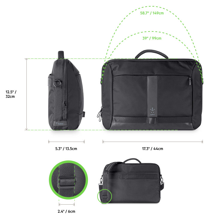 Belkin Active Pro Messenger Bag diagram