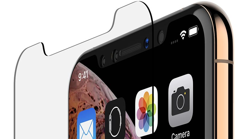 Top of iPhone, showing the glass doesn't cover the camera