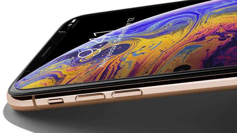 Zoom sur l'iPhone XS Max, incliné vers le bas