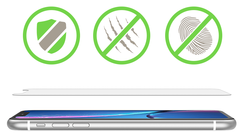 Shield icon, scratch resistance icon, and anti-fingerprint icon