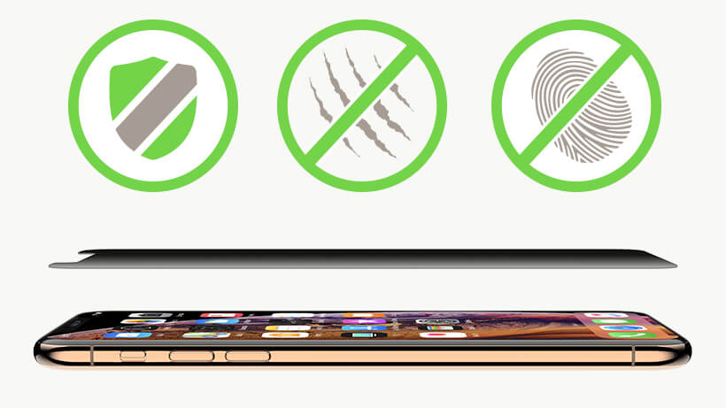 iPhone XS Max avec en superposition le badge de la protection bouclier, antirayure et anti-traces de doigts
