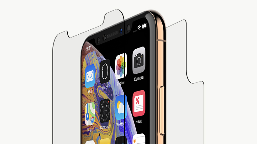 Strengthened glass covering the front and back of an iPhone XS Max
