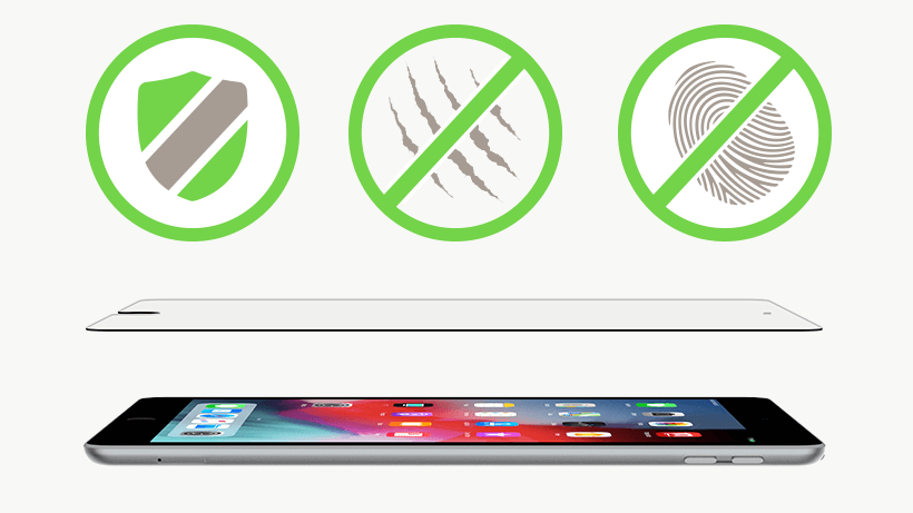 Tempered Glass and iPad with a shield, scratch-resistant and anti-fingerprint icon overlaid