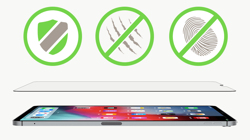 Tempered Glass and iPad 12.9 with a shield, scratch-resistant and anti-fingerprint icon overlaid