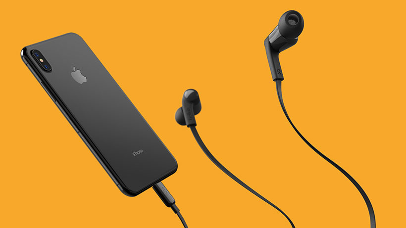 SOUNDFORM headphones plugged into an iPhone