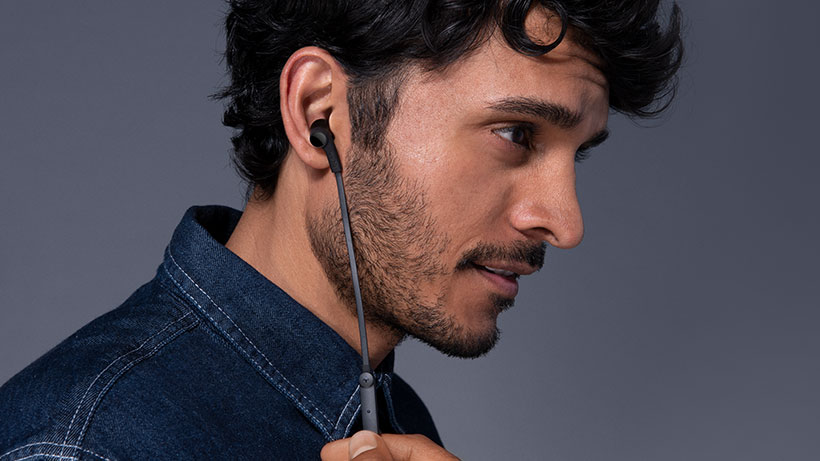 Profile of a man with ROCKSTAR Headphones in his ears