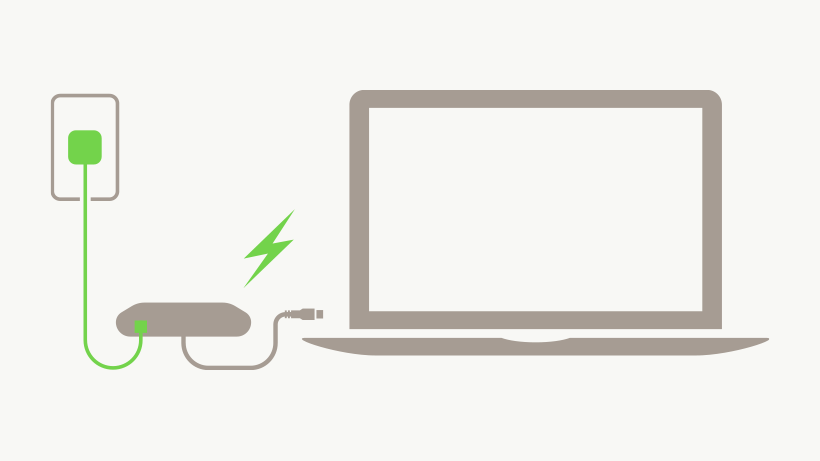 Illustration of USB-C to Ethernet + Charge Adapter charging a laptop