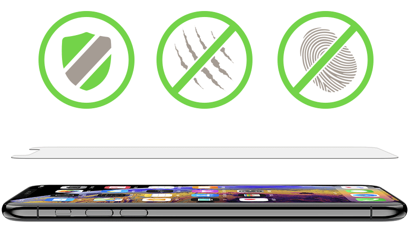 SCREENFORCE TemperedGlass with shield, anti-scratch and anti-fingerprint icons overlaid
