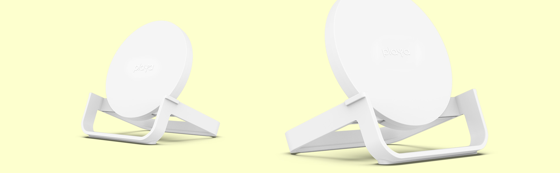 Two white Playa Wireless Charging Stands