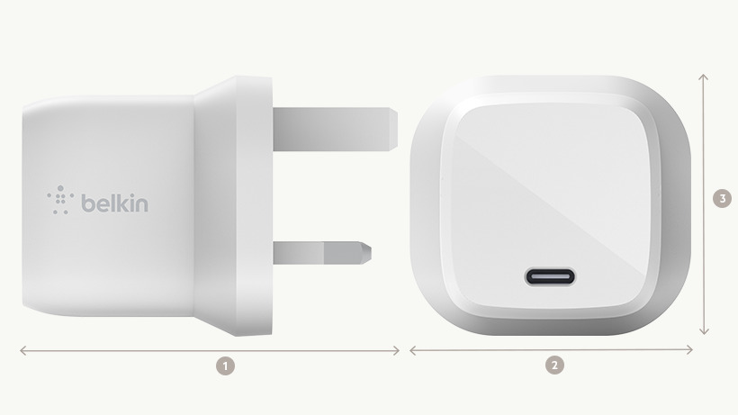 BOOST↑CHARGE USB-C GaN Wall Charger dimensions diagram