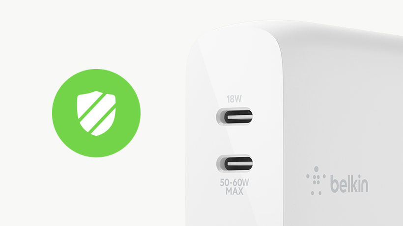 Close up of BOOST↑CHARGE™ Dual USB-C GaN Wall Charger 68W