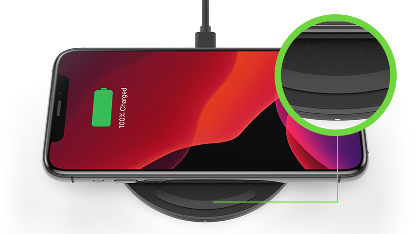 Close up of LED light on the BOOST↑CHARGE Wireless Charging Pad