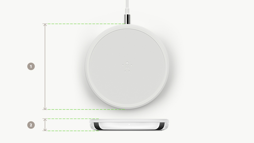 BOOST↑CHARGE Wireless Charging Pad dimensions diagram