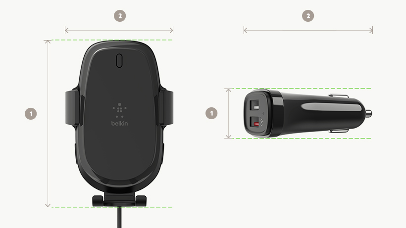 BOOST↑CHARGE Wireless Car Charger and Vent Mount dimensions diagram