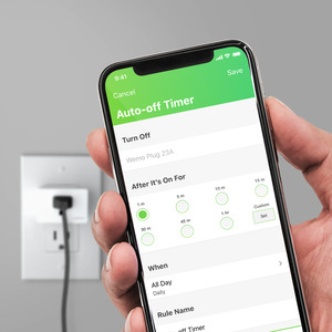 Wemo App screen showing Wemo WiFi Smart Plug auto timer