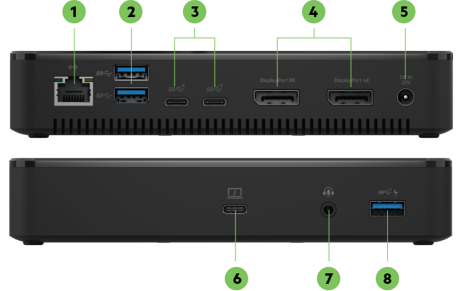 Back of Belkin Thunderbolt™ 3 Dock Plus featuring ports