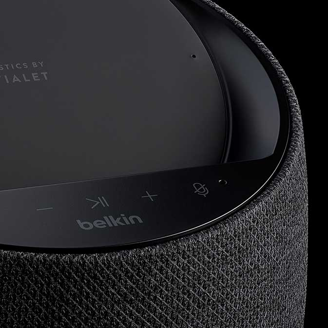 Belkin G1S0001 Soundform Elite Smart Speaker image, black, close-up view showing controls