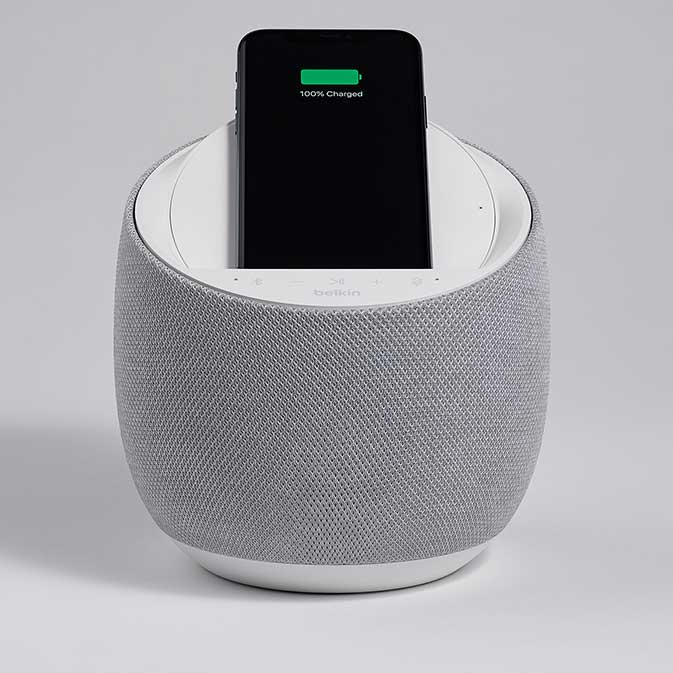 Belkin G1S0001 Soundform Elite Smart Speaker image, white, front view with phone in place