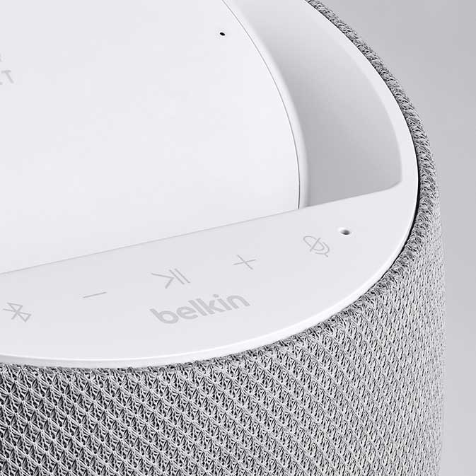 Belkin G1S0001 Soundform Elite Smart Speaker image, white, close-up view showing controls