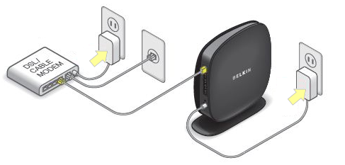 Plug both the modem and the router into a power outlet.